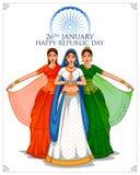 Senhora no saree Tricolor da bandeira indiana para o dia feliz da república do 26 de janeiro da Índia ilustração royalty free