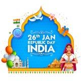 Senhora no saree Tricolor da bandeira indiana para o dia feliz da república do 26 de janeiro da Índia ilustração stock