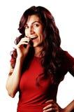 Senhora no telefone de pilha Imagem de Stock Royalty Free