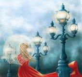 Senhora no vermelho e em três lâmpadas de rua velhas - ambiente azul ilustração stock