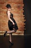 Senhora no vestido preto Foto de Stock Royalty Free