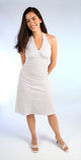 Senhora nova bonita em um vestido branco do verão Fotografia de Stock