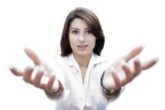 Senhora nova com as mãos levantadas na frente dela Fotos de Stock Royalty Free