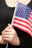 Senhora nova com bandeira dos EUA Fotografia de Stock
