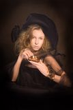 Senhora nova com copo de café - 3 imagens de stock royalty free