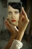Senhora nova com espelho imagens de stock royalty free