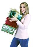 Senhora nova com presentes (Natal/aniversário) Fotografia de Stock Royalty Free