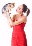 Senhora nova com um cão Foto de Stock Royalty Free