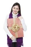 Senhora nova com um presente Imagem de Stock Royalty Free