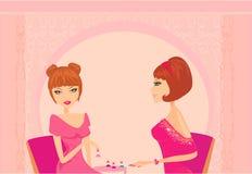 Senhora nova que faz o manicure ilustração stock