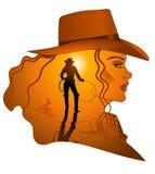 Senhora ocidental do cowgirl ilustração royalty free
