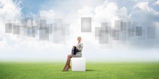 Senhora ou contador atrativo do negócio fora na caixa branca ilustração stock