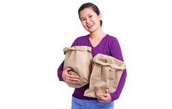 Senhora With Paper Bags imagem de stock royalty free