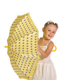 Senhora pequena agradável com o guarda-chuva isolado fotografia de stock royalty free