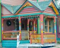 Senhora pintada Porch Victorian Home fotografia de stock