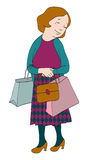 Senhora que compra para fora Fotografia de Stock