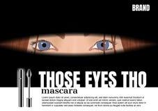 Senhora que olha os olhos com rímel de prata, anúncio do cosmético do vetor imagens de stock