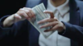 Senhora que toma notas de dólar e que põe o bolso, transação da corrupção, salário ilegal video estoque