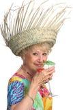 Senhora sênior Enjoying Cocktail fotografia de stock royalty free