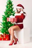Senhora Santa com presente do Natal imagens de stock royalty free
