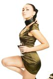 Senhora 'sexy' com um vidro do vinho vermelho Imagem de Stock