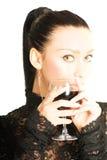 Senhora 'sexy' com um vidro do vinho vermelho Foto de Stock