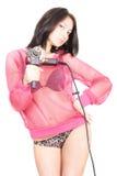 Senhora 'sexy' com uma broca Fotografia de Stock