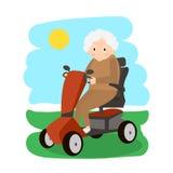 Senhora superior em um 'trotinette' da mobilidade Pessoas adultas que movem sobre o 'trotinette' Transporte das pessoas idosas ilustração royalty free