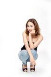 Senhora tailandesa 'sexy' que senta-se em seu joelho Foto de Stock Royalty Free