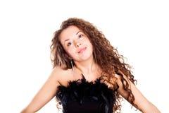 Senhora triguenha com um cabelo bonito fotografia de stock