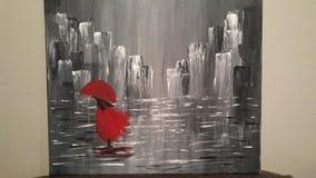 A senhora vermelha do guarda-chuva Fotos de Stock Royalty Free