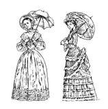 Senhoras antigas Dama com guarda-chuva Época vitoriano Roupa retro antiga Mulheres no vestido do laço da bola Gravura do vintage ilustração royalty free