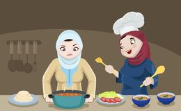 Senhoras de Khaliji na cozinha Imagem de Stock Royalty Free