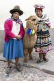 Senhoras peruanas com um lama em Cusco no Peru Imagem de Stock Royalty Free