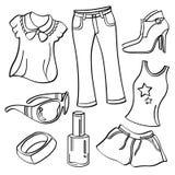 Senhoras roupa e acessórios ilustração stock