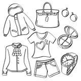 Senhoras roupa e acessórios ilustração royalty free