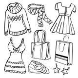 Senhoras roupa e acessórios ilustração do vetor