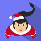 Senhorita claus Santa com uma ideia superior oblíqua longa do fundo roxo Fotografia de Stock Royalty Free