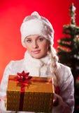 Senhorita Papai Noel com presente de Natal Fotos de Stock