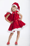 Senhorita pequena bonito Santa, 5 anos de menina idosa Imagem de Stock