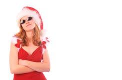 A senhorita Santa é uma menina fresca - colheita do retângulo imagens de stock royalty free