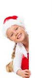 Senhorita Santa que apresenta o copyspace Foto de Stock Royalty Free