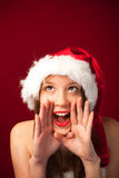Senhorita Santa que chama o! Fotos de Stock