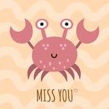Senhorita você cartão bonito, cartaz com um caranguejo engraçado Fotografia de Stock Royalty Free