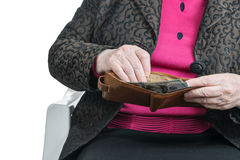 Senile female hands with wallet Royalty Free Stock Image
