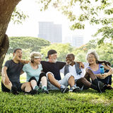 Seniorów przyjaciół Grupowy ćwiczenie Relaksuje pojęcie Obraz Stock