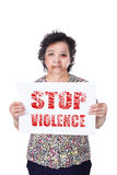 Senior abuse or elder mistreatment holding Stop violence paper. Stock Image