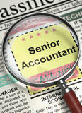 Senior Accountant Hiring Now. 3D. Stock Photography