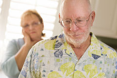 Senior Adult Couple in Dispute or Consoling Royalty Free Stock Images