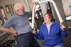 Senior Adult Couple in the Gym Royalty Free Stock Images